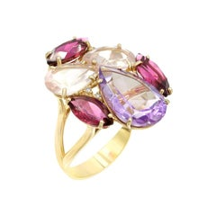 Precious Tourmaline Diamond Pink Quartz Amethyst 18 Karat Gold Ring