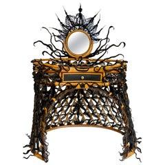 Precious Vanity, rattan and synthetic fibers, Art Modern