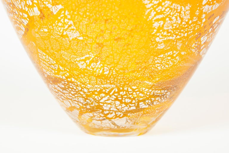 Other Precious Vase in Amber, a unique vase with silver leaf by Cathryn Shilling For Sale