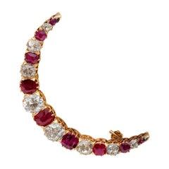 Precious Victorian 4.40 Carat Old Mine Diamond 3.0 Carat Ruby Crescent Brooch