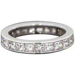 Precision Set Platinum 2.05 Carat Princess Diamond Eternity Wedding Band Ring