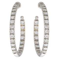 Precision Set White Gold 1.30 Carat Round Diamond Hoop Earrings