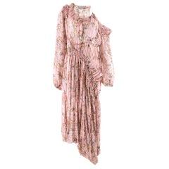 Preen by Thornton Bregazzi Pink Floral Asymmetric Dress SIZE M