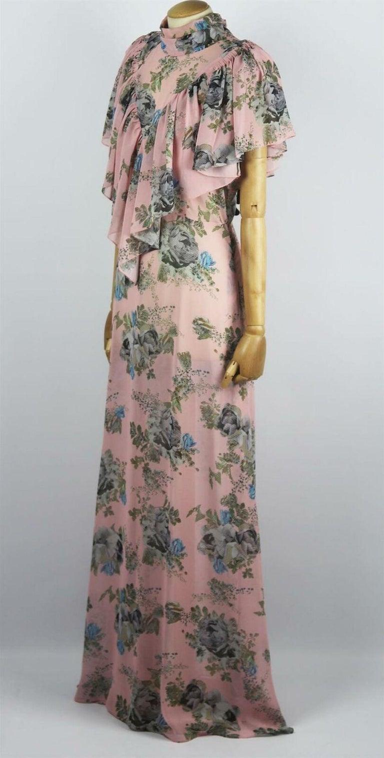 Beige Preen By Thornton Bregazzi Ruffled Floral Print Georgette Maxi Dress For Sale