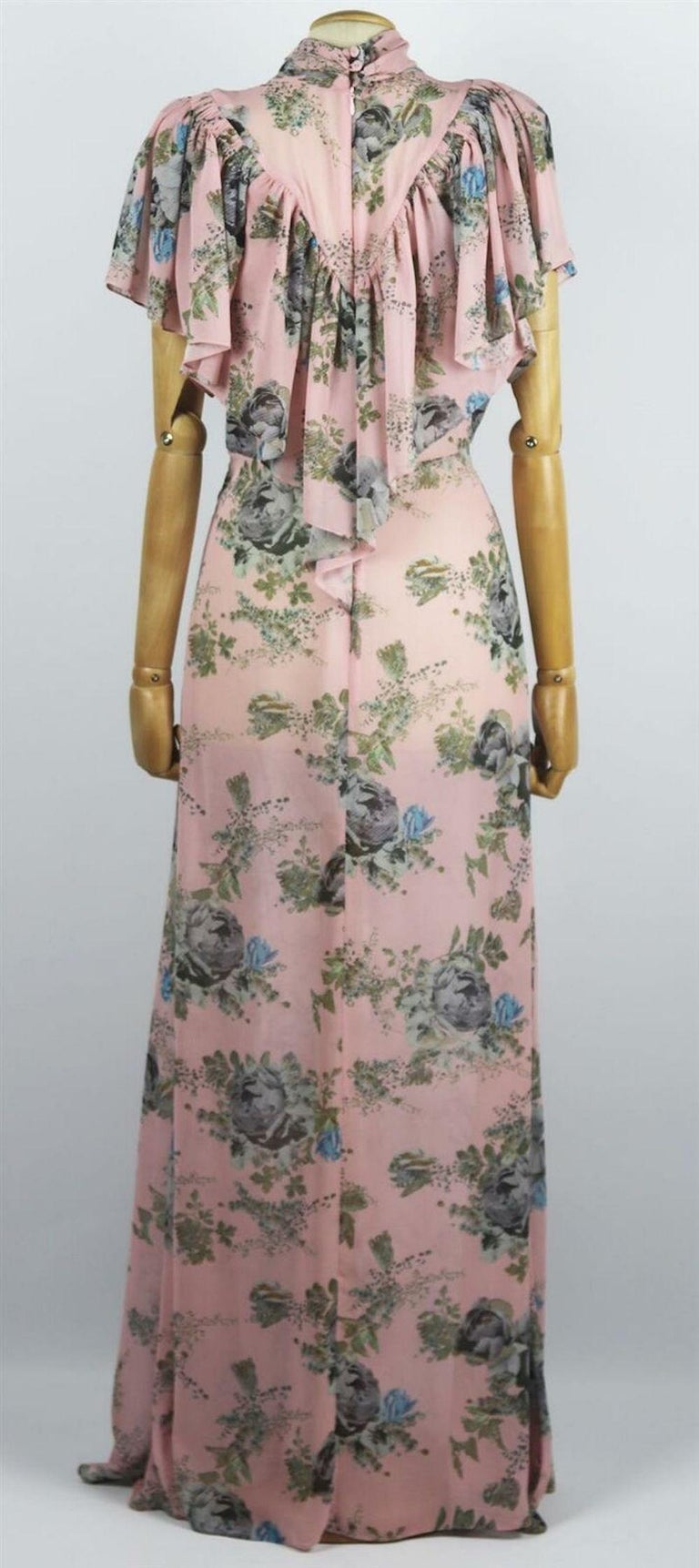 Preen By Thornton Bregazzi Ruffled Floral Print Georgette Maxi Dress In Excellent Condition For Sale In London, GB