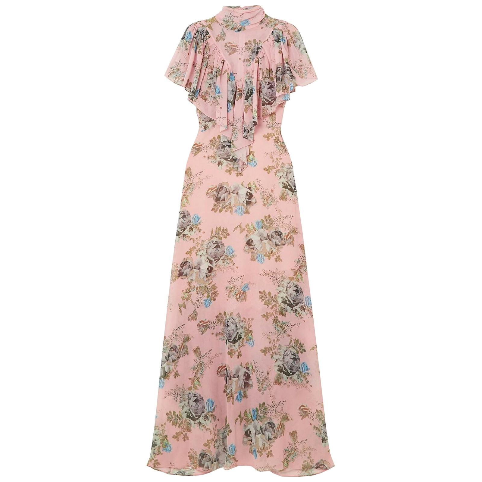 Preen By Thornton Bregazzi Ruffled Floral Print Georgette Maxi Dress