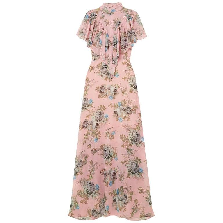 Preen By Thornton Bregazzi Ruffled Floral Print Georgette Maxi Dress For Sale