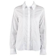 Preen by Thornton Bregazzi White Poplin Eyelet Lace Trim Long Sleeve Shirt M