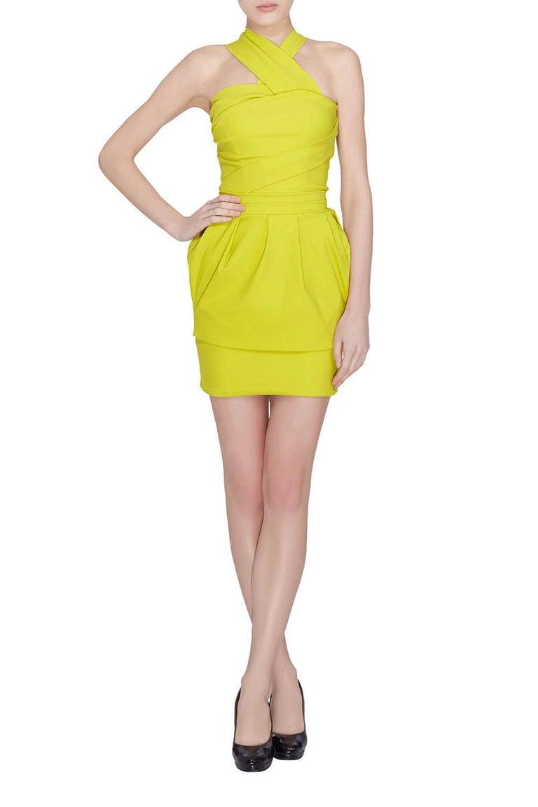 Yellow Preen by Thorton Bregazzi Citrus Green Stretch Sateen Cocktail Dress S For Sale