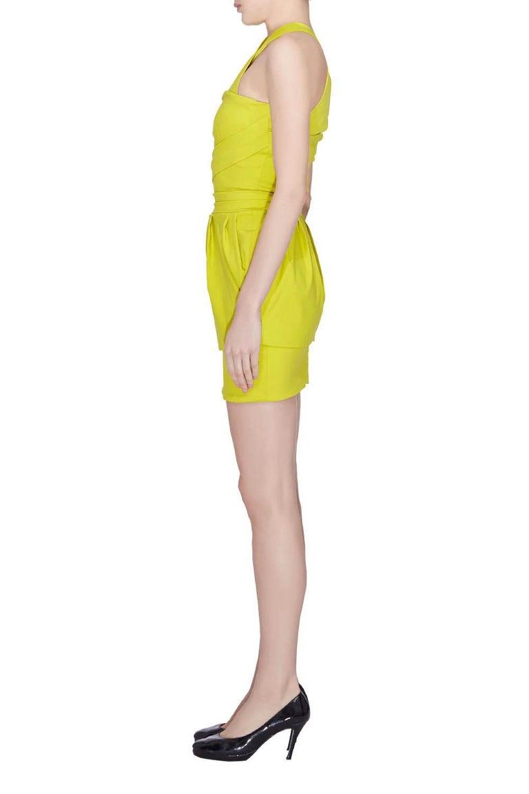 Preen by Thorton Bregazzi Citrus Green Stretch Sateen Cocktail Dress S In Fair Condition For Sale In Dubai, Al Qouz 2