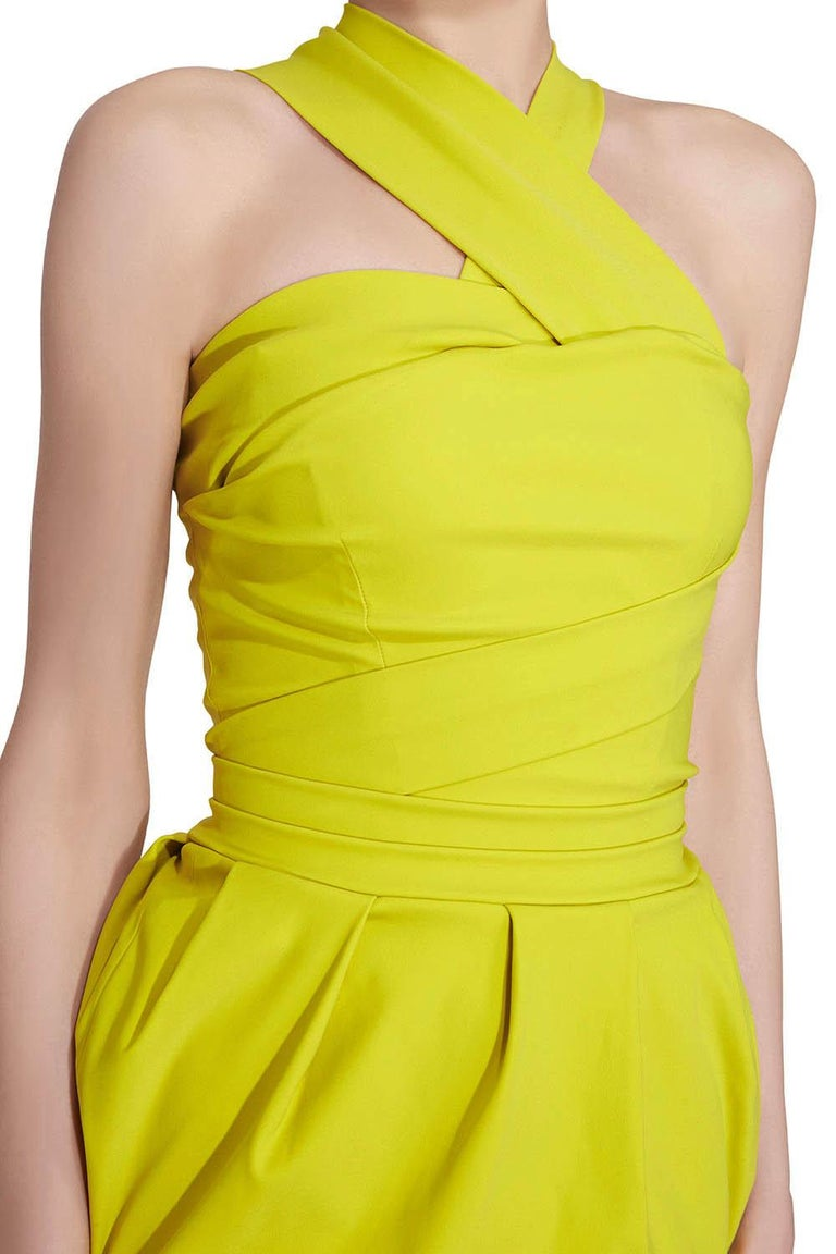 Women's Preen by Thorton Bregazzi Citrus Green Stretch Sateen Cocktail Dress S For Sale