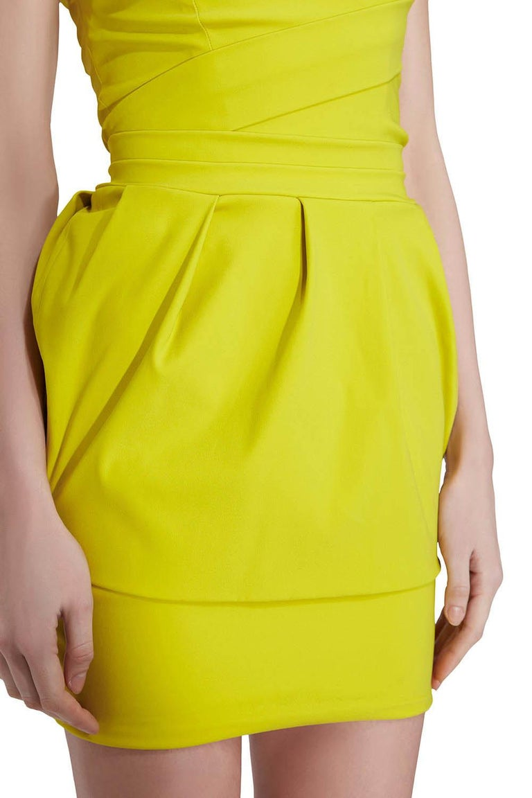 Preen by Thorton Bregazzi Citrus Green Stretch Sateen Cocktail Dress S For Sale 1