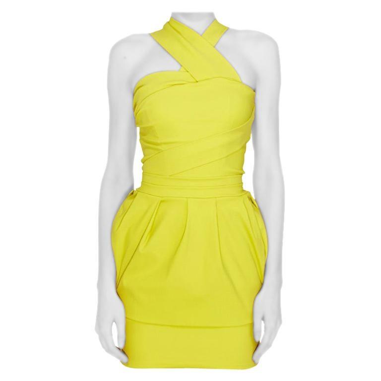 Preen by Thorton Bregazzi Citrus Green Stretch Sateen Cocktail Dress S For Sale
