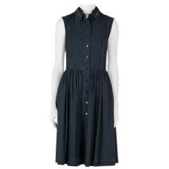 Preen Line Indigo Embroidered Chambray Sleeveless Alabama Dress XS