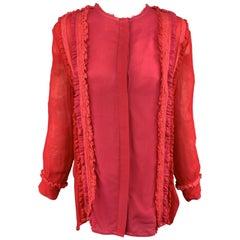 PREEN LINE Size S Red & Fuchsia Silk / Viscose Blend Ruffle Blouse