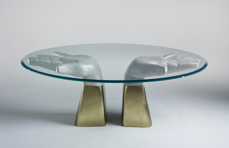 Modern Prego Dining Table with Glass Top and Bronzed Gold Leaf Base For Sale