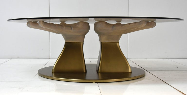 Prego Dining Table with Glass Top and Bronzed Gold Leaf Base In New Condition For Sale In Lentate sul Seveso, Monza e Brianza