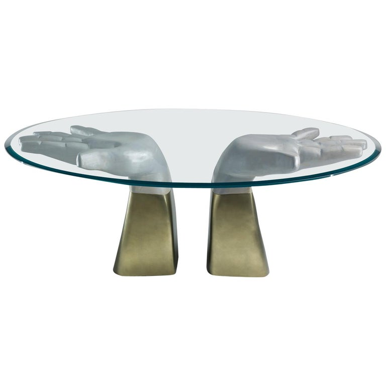 Prego Dining Table with Glass Top and Bronzed Gold Leaf Base For Sale