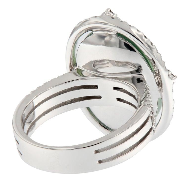 Women's Prehnite and Diamond 18 Karat Gold Ring For Sale