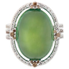 Prehnite and Diamond 18 Karat Gold Ring