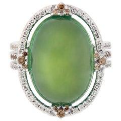 Prehnite and Diamond 18 Karat Gold Ring
