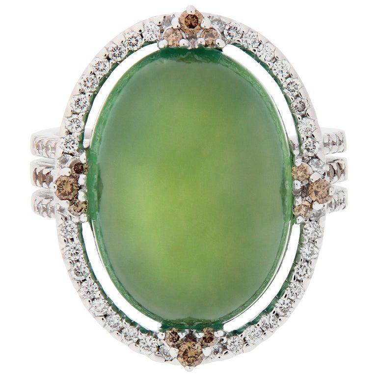 Prehnite and Diamond 18 Karat Gold Ring For Sale