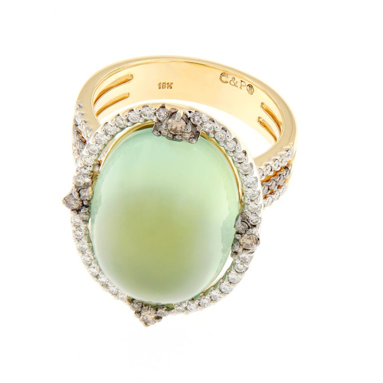 Prehnite and Diamond Yellow Gold Cocktail Ring In New Condition For Sale In Troy, MI