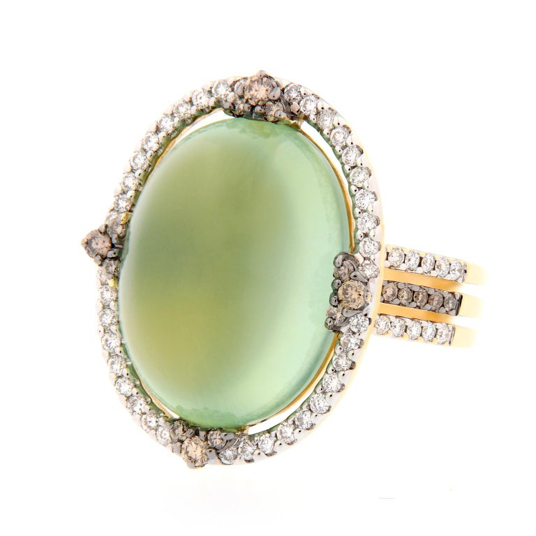 Prehnite and Diamond Yellow Gold Cocktail Ring For Sale