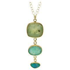 Prehnite, Aquaprase and Opal Tiered Gold Necklace