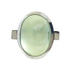 Prehnite Cabochon Oval Silver Bezel Ring