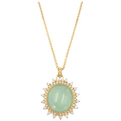 Prehnite Double Diamond Halo Pendant Necklace 18K 0.725 CTW Diamond