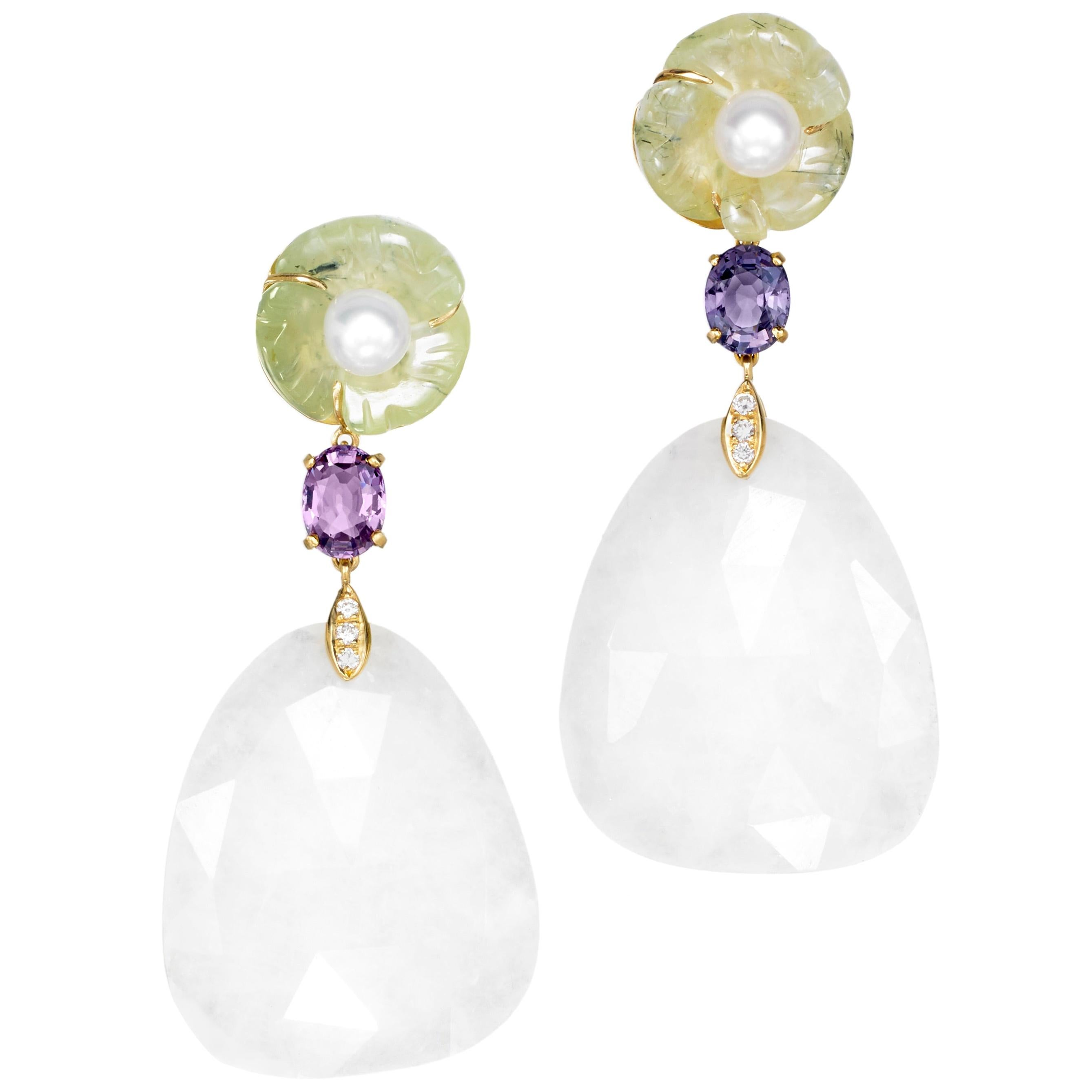 18 Karat Yellow Gold Prehnite Pearl Spinel Agate Diamond Drop Dangle Earrings