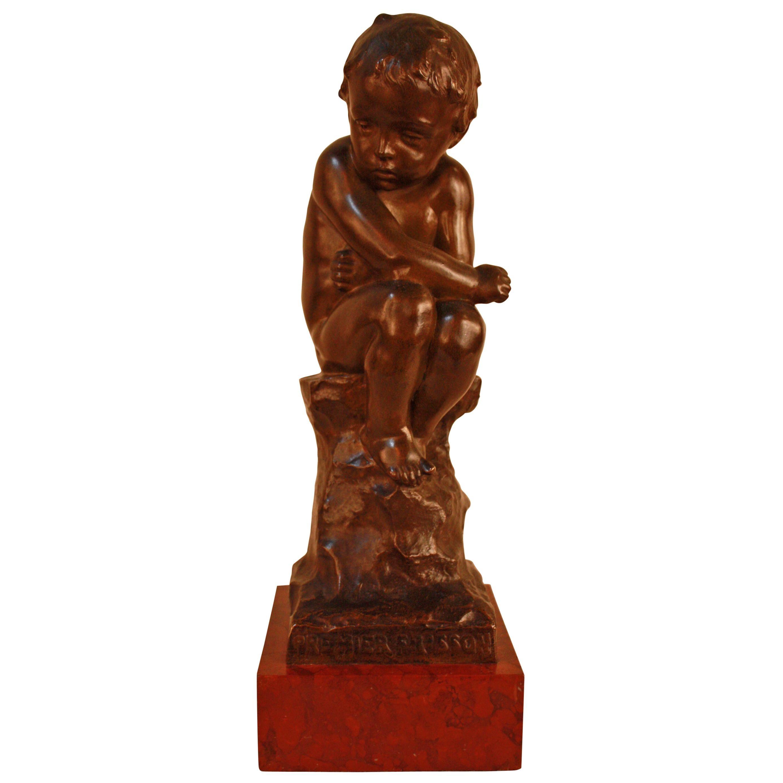 """""""Premier Frisson,"""" Bronze Sculpture, by Eug. Marioton"""