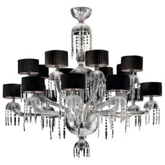 Premiere Dame 5696 16 Chandelier in Glass with Black Shade, by Barovier&Toso