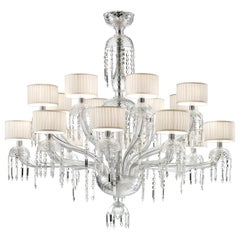 Premiere Dame 5696 16 Chandelier in Glass with White Shade, by Barovier&Toso