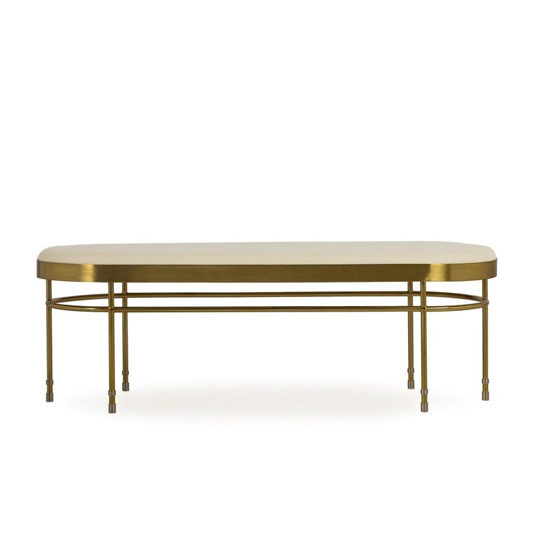 Modern Art Deco Inspired Curved Bench Upholstered in Premium Wool with Brass Finishes For Sale