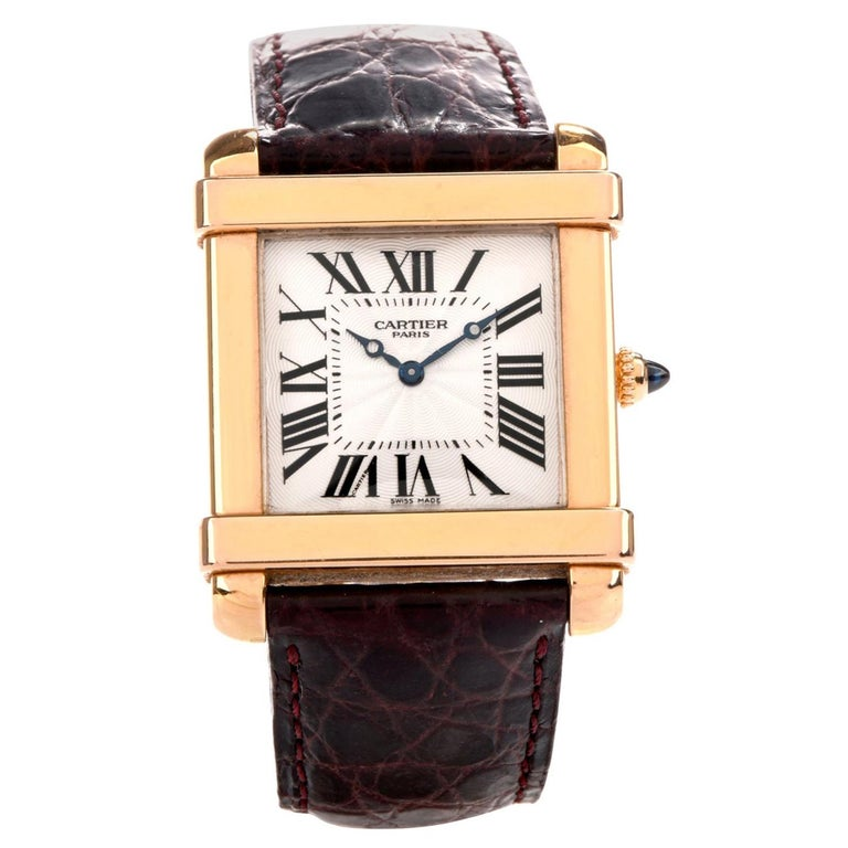 Preowned Men's 18 Karat Cartier Tank Chinoise Watch Model 2684G For Sale