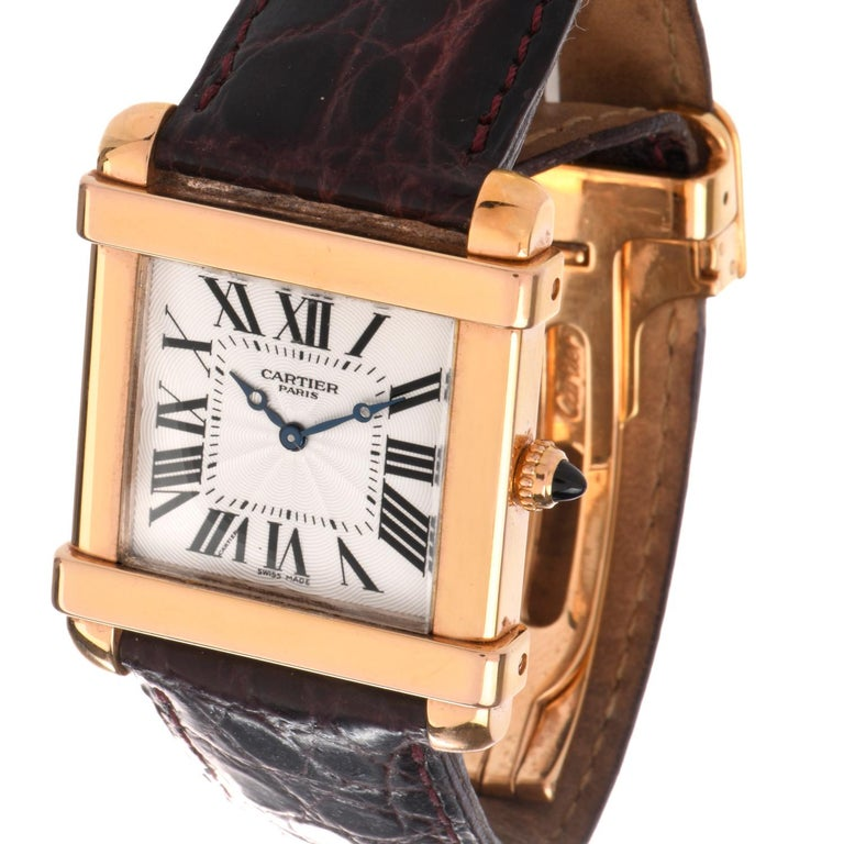 Preowned Men's 18 Karat Cartier Tank Chinoise Watch Model 2684G In Excellent Condition For Sale In Miami, FL
