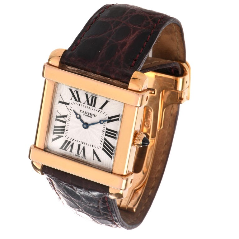 Women's or Men's Preowned Men's 18 Karat Cartier Tank Chinoise Watch Model 2684G For Sale