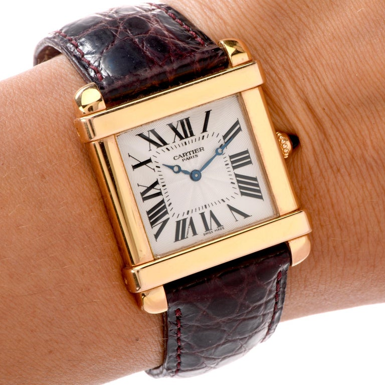Preowned Men's 18 Karat Cartier Tank Chinoise Watch Model 2684G For Sale 3