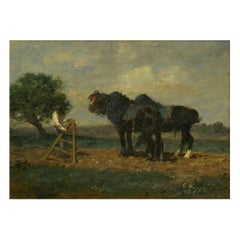 """Preparing the Plow"" Barbizon Horse Painting by Émile Jacque 'French, 1848-1912'"