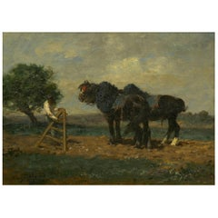 """Preparing the Plow"" Barbizon Horse Painting by Émile Jacque 'French, 1848-1912'"