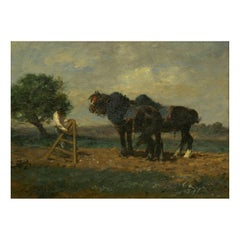 """Preparing the Plow"" French Antique Barbizon Painting by Charles Emile Jacque"