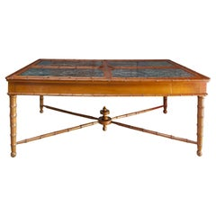 Presentation Table with Bamboo-Shaped Feet and Green Marble, England, circa 1850