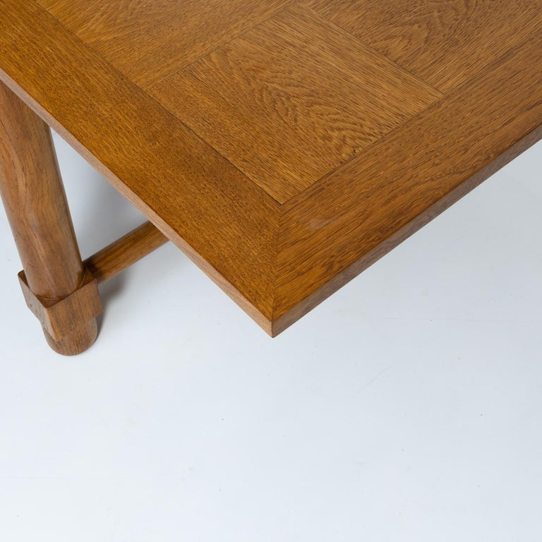 French Presentation Table with Extensions, in Solid Oak, the Top in Oak Marquetry For Sale