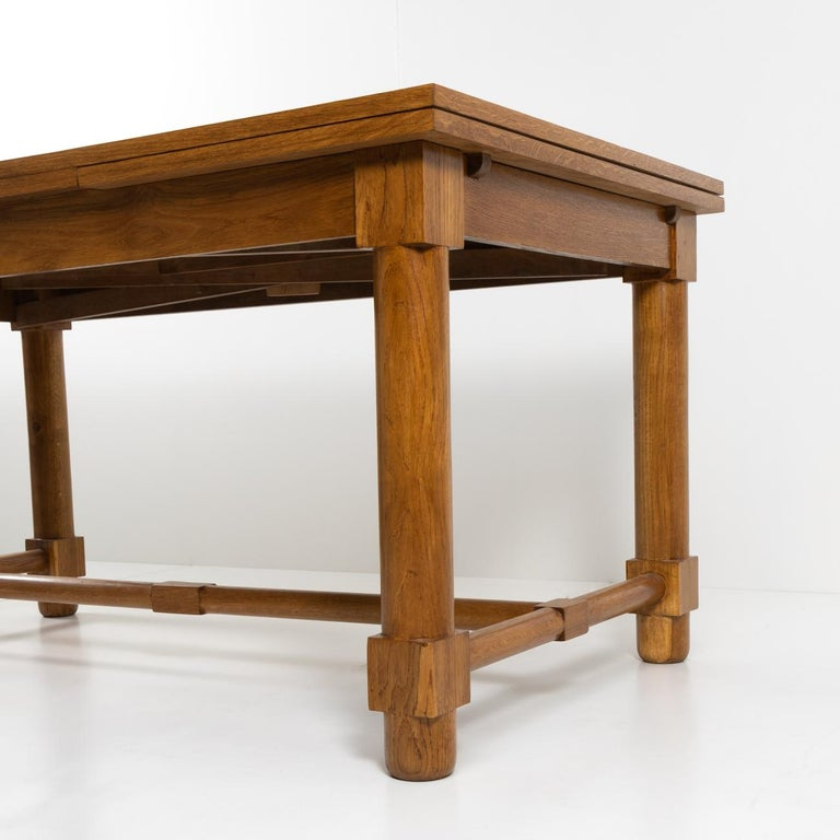 Woodwork Presentation Table with Extensions, in Solid Oak, the Top in Oak Marquetry For Sale