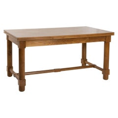 Presentation Table with Extensions, in Solid Oak, the Top in Oak Marquetry