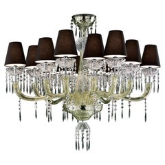 President 5695 14 Chandelier in Glass with Black Shade, by Barovier&Toso