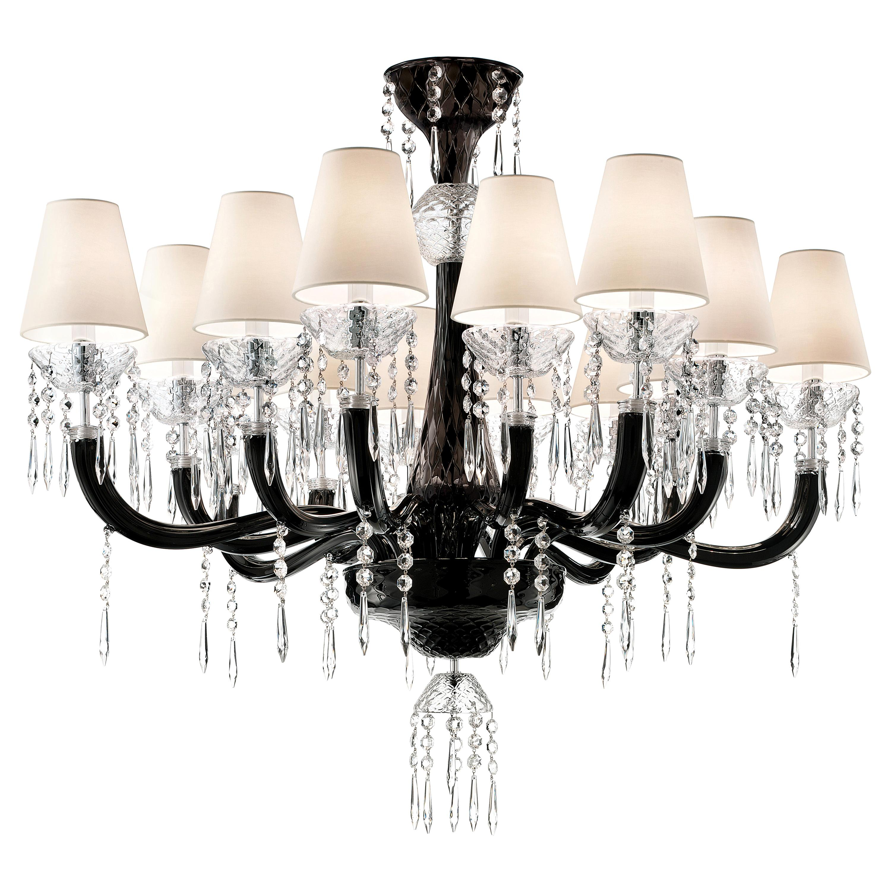 President 5695 14 Chandelier in Glass with White Shade, by Barovier & Toso