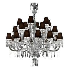 President 5695 24 Chandelier in Glass with Black Shade, by Barovier&Toso